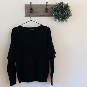 Banana Republic Black Ruffle Sleeve Sweater M